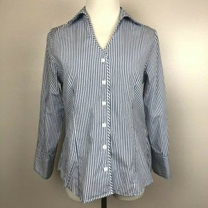 Foxcroft Dress Shirt Striped Button Down Blue 2